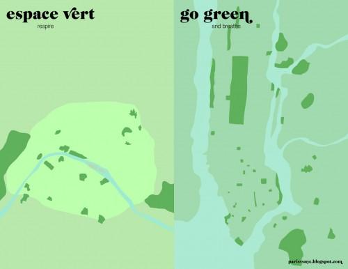 Paris vs NYC - Espace vert vs Go green