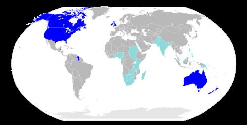 English Language World Map